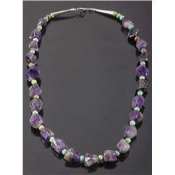 Polished Amethyst & Turquoise Bead Necklace