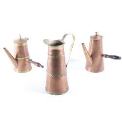 Tooled Copper & Brass Tea Kettles & Pitcher