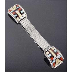 Signed Zuni Mosaic Inlaid Multi-Stone Watch Band