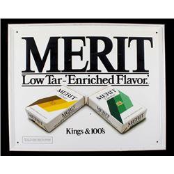 Merit Cigarettes Tin Advertising Sign
