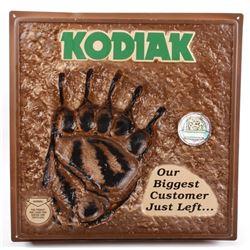Kodiak Chewing Tobacco Embossed Bear Print Sign