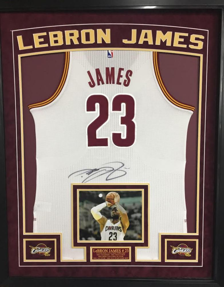cheap for discount 99574 20875 LeBron James Signed Cavaliers 35x43 Custom Framed ...