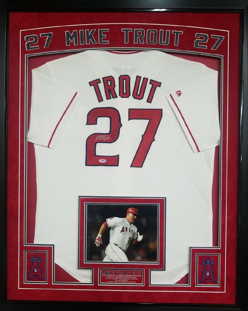 size 40 6cdc3 c02a4 Mike Trout Signed Angels 36x44 Custom Framed Authentic ...