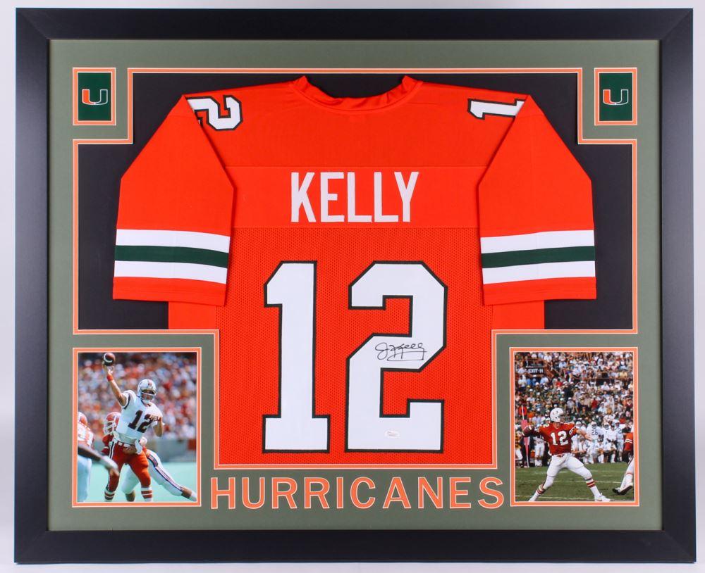 pretty nice 9adde e211a Jim Kelly Signed Miami Hurricanes 35x43 Custom Framed ...