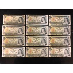 1973 ONE DOLLAR CANADIAN BANK NOTE LOT