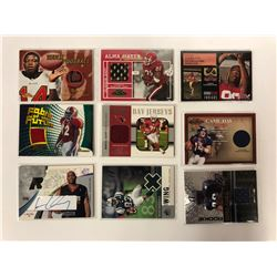 FOOTBALL GAME WORN JERSEY TRADING CARDS LOT