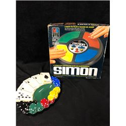 COMPUTER CONTROLLED SIMON GAME IN BOX W/ POKER THEMED CIGAR ASHTRAY
