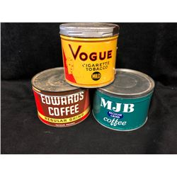 VINTAGE COLLECTIBLE COFFEE TIN CANS