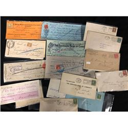 VINTAGE USED CANADIAN CHEQUES & LETTER'S LOT