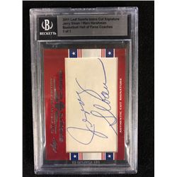 2011 LEAF SPORTS ICONS CUT SIGNATURE JERRY SLOAN/ MARV HARSHMAN BASKETBALL HOF COACHES (1 OF 1)