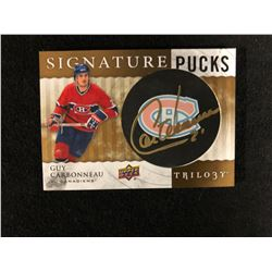 2015-16 UD Trilogy Signature Pucks - Guy Carbonneau Auto