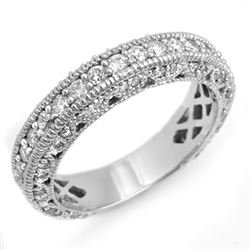 1.10 CTW Certified VS/SI Diamond Band 18K White Gold - REF-127T3M - 14314