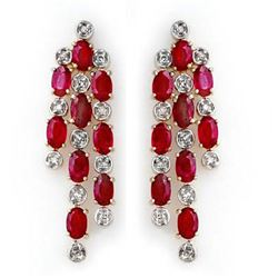 4.03 CTW Ruby & Diamond Earrings 14K Yellow Gold - REF-109A3X - 14200