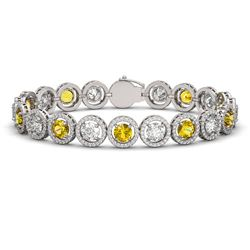 15.47 CTW Canary Yellow & White Diamond Designer Bracelet 18K White Gold - REF-2195K3W - 42689