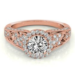1.25 CTW Certified VS/SI Diamond Solitaire Halo Ring 18K Rose Gold - REF-238Y2K - 26573