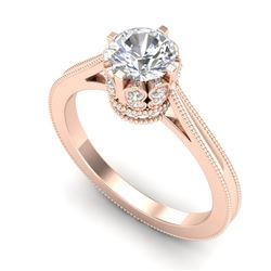 1.14 CTW VS/SI Diamond Solitaire Art Deco Ring 18K Rose Gold - REF-220H5A - 36828
