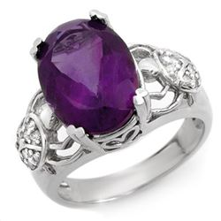 6.20 CTW Amethyst & Diamond Ring 10K White Gold - REF-52F8N - 10478