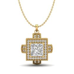 1.46 CTW Princess VS/SI Diamond Micro Pave Necklace 18K Yellow Gold - REF-418X2T - 37195