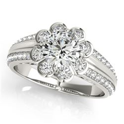 1.5 1.50 CTW Certified VS/SI Diamond Solitaire Halo Ring 18K White Gold - REF-398K8W - 27033