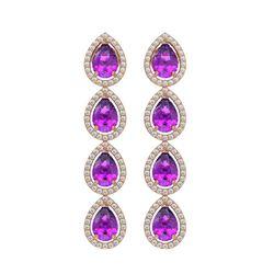 7.85 CTW Amethyst & Diamond Halo Earrings 10K Rose Gold - REF-136H2A - 41178