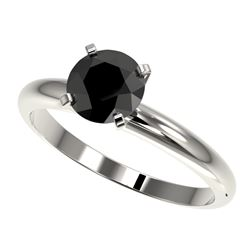1.25 CTW Fancy Black VS Diamond Solitaire Engagement Ring 10K White Gold - REF-39M5H - 32906