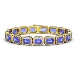 25.36 CTW Tanzanite & Diamond Halo Bracelet 10K Yellow Gold - REF-606K8W - 41389