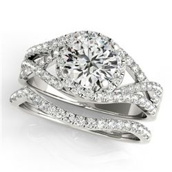 1.4 CTW Certified VS/SI Diamond 2Pc Set Solitaire Halo 14K White Gold - REF-239N5Y - 31002