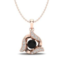 0.46 CTW Black & Micro Pave VS/SI Diamond Halo Necklace 14K Rose Gold - REF-29X8T - 20003