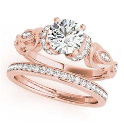 1.4 CTW Certified VS/SI Diamond Solitaire 2Pc Wedding Set Antique 14K Rose Gold - REF-384K8W - 31476