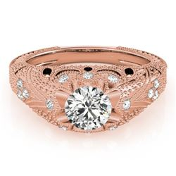 0.97 CTW Certified VS/SI Diamond Solitaire Antique Ring 18K Rose Gold - REF-226W2F - 27265