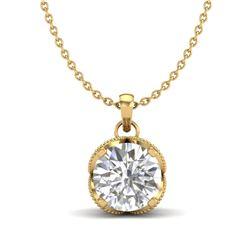 1.13 CTW VS/SI Diamond Solitaire Art Deco Necklace 18K Yellow Gold - REF-217H3A - 36865