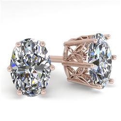 1.0 CTW Certified VS/SI Oval Diamond Stud Earrings 18K Rose Gold - REF-178T2M - 35825
