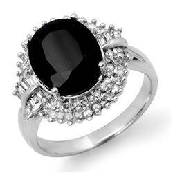 6.29 CTW Blue Sapphire & Diamond Ring 14K White Gold - REF-127H3A - 13779