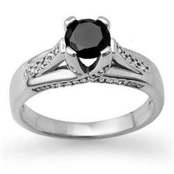 1.18 CTW VS Certified Black & White Diamond Ring 14K White Gold - REF-64K2W - 11881