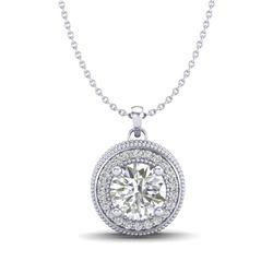 1.25 CTW VS/SI Diamond Solitaire Art Deco Stud Necklace 18K White Gold - REF-218T2M - 37142