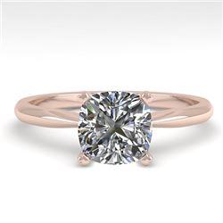 1.01 CTW Cushion Cut VS/SI Diamond Engagement Designer Ring 14K Rose Gold - REF-297Y2K - 32171