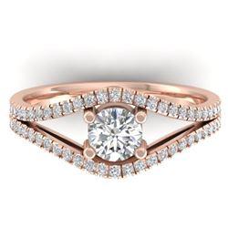 1.05 CTW Certified VS/SI Diamond Art Deco Ring 14K Rose Gold - REF-126F8N - 30301