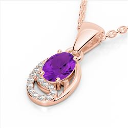 1.25 CTW Amethyst & Micro VS/SI Diamond Necklace 10K Rose Gold - REF-18F9N - 22340