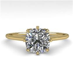 1.0 CTW Certified VS/SI Cushion Diamond Engagement Ring 18K Yellow Gold - REF-317M3H - 35755