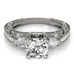 1.15 CTW Certified VS/SI Diamond Solitaire Antique Ring 18K White Gold - REF-224Y5K - 27279
