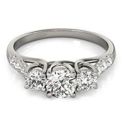 0.75 CTW Certified VS/SI Diamond 3 Stone Ring 18K White Gold - REF-96F2N - 28077