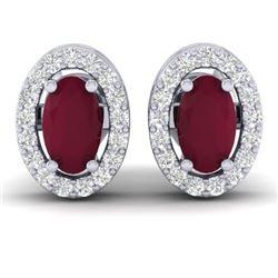 1.02 CTW Ruby & Micro Pave VS/SI Diamond Earrings Halo 18K White Gold - REF-32W8F - 21191