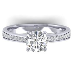 1.26 CTW Certified VS/SI Diamond Solitaire Art Deco Ring 14K White Gold - REF-352K4W - 30384