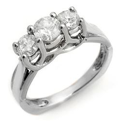 1.35 CTW Certified VS/SI Diamond Ring 14K White Gold - REF-162X4T - 10152
