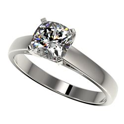 1.25 CTW Certified VS/SI Quality Cushion Cut Diamond Solitaire Ring 10K White Gold - REF-372Y3K - 33