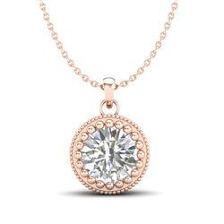 1 CTW VS/SI Diamond Solitaire Art Deco Necklace 18K Rose Gold - REF-292N5Y - 36891