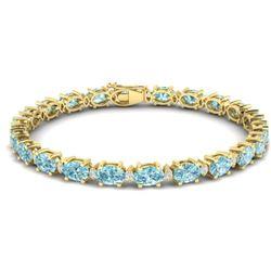 19.7 CTW Sky Blue Topaz & VS/SI Certified Diamond Eternity Bracelet 10K Yellow Gold - REF-98W2F - 29