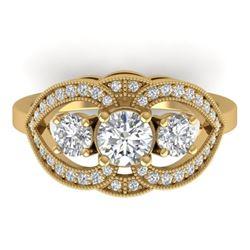 1.5 CTW Certified VS/SI Diamond Art Deco 3 Stone Ring 14K Yellow Gold - REF-169H3A - 30521