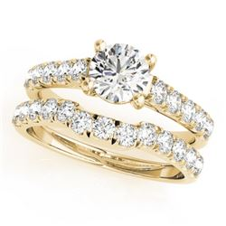 1.39 CTW Certified VS/SI Diamond 2Pc Set Solitaire Wedding 14K Yellow Gold - REF-215W5F - 32089