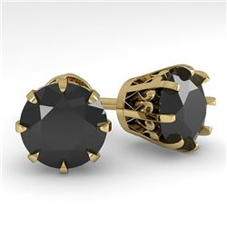 4.0 CTW Black Diamond Stud Solitaire Earrings 18K Yellow Gold - REF-127N3Y - 35710